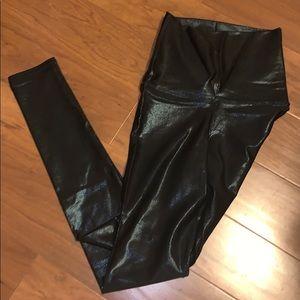 Emily Hsu black shiny leggings